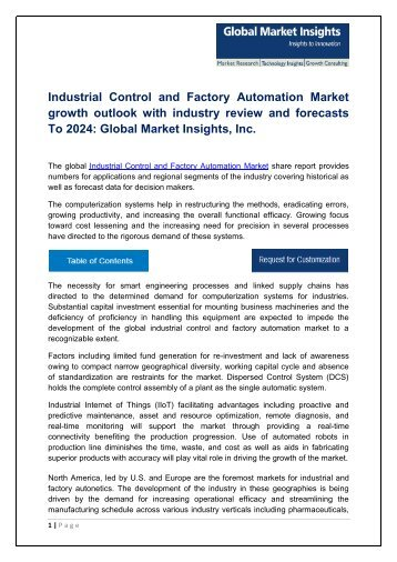 Industrial Control and Factory Automation Market Research Report, 2017 - 2024