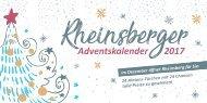 Rheinsberger Adventskalender 2017 / Türchen Broschüre