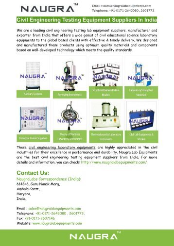 Civil Engineering Testing Equipment Suppliers
