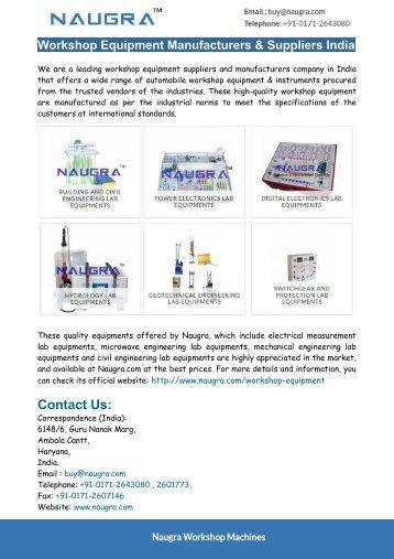 Workshop Equipment Manufacturers & Suppliers India