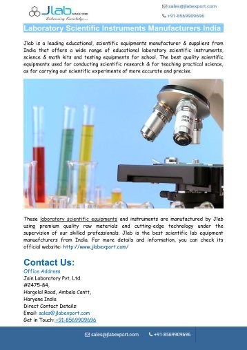 Laboratory Scientific Instruments Manufacturers India