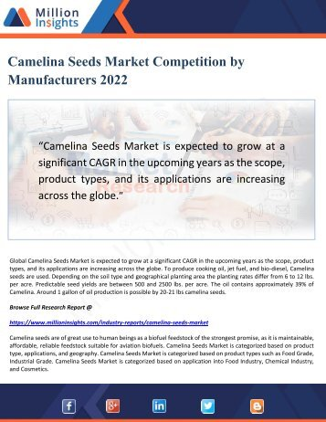 Camelina Seeds Market Competition by Manufacturers 2022