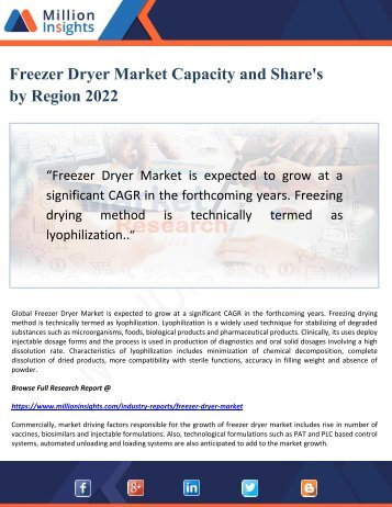 Freezer Dryer Market Capacity and Share's by Region 2022