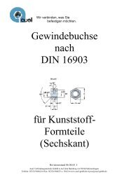Gewindebuchse nach DIN 16903 für Kunststoff- Formteile (Sechskant)