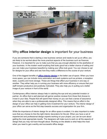 Why office interior design is important for your business
