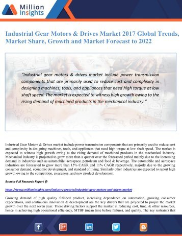 Industrial Gear Motors & Drives Market 2017 Global Trends, Market Share, Growth and Market Forecast to 2022