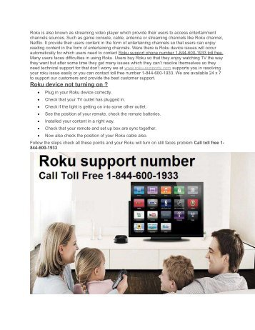 Roku support 1-844-600-1933 toll free