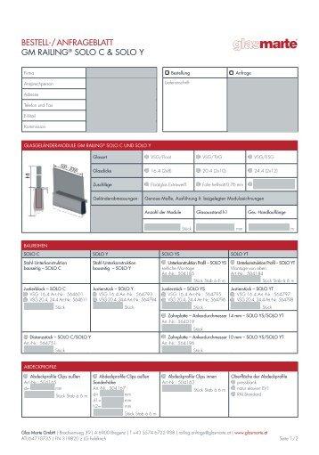 Bestell-/Anfrageblatt - GM RAILING Solo C und Solo Y