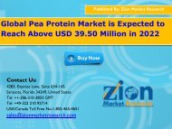 Global Pea Protein Market will increase by CAGR 8.00% Annually till 2022