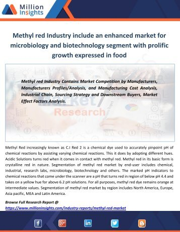 Methyl red Industry include an enhanced market for microbiology and biotechnology segment with prolific growth expressed in food