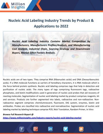 Nucleic Acid Labeling Industry Trends by Product & Applications to 2022