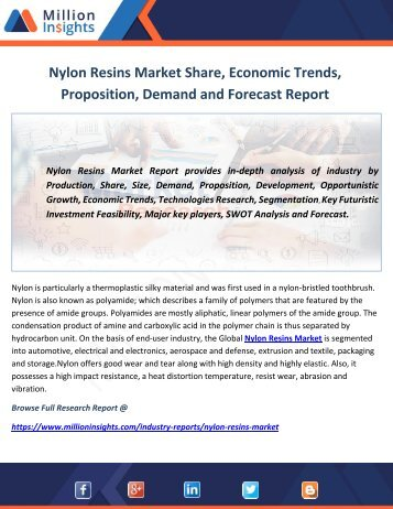 Nylon Resins Market Size, Market Share, Top Key Players, Applications : Forecasts Report to 2022