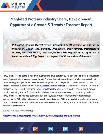 PEGylated Proteins Market - Global Industry Analysis, Size, Share, Growth Rate, Trends and Forecast 2012 – 2022