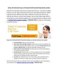 Solve all technical issues of hotmail with hotmail help desk number 1-888-664-3555