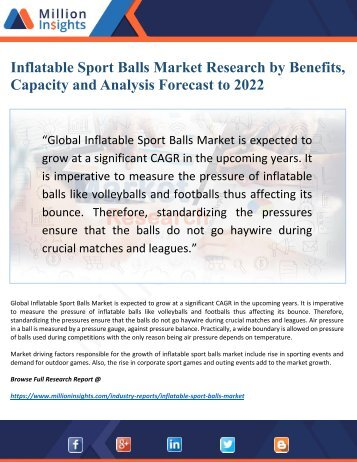 Inflatable Sport Balls Market 2022 Discover new Industry Opportunities and Key Trends