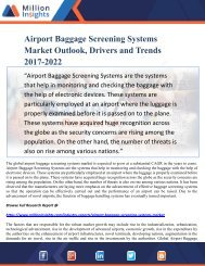 Airport Baggage Screening Systems Market Outlook, Drivers and Trends 2017-2022