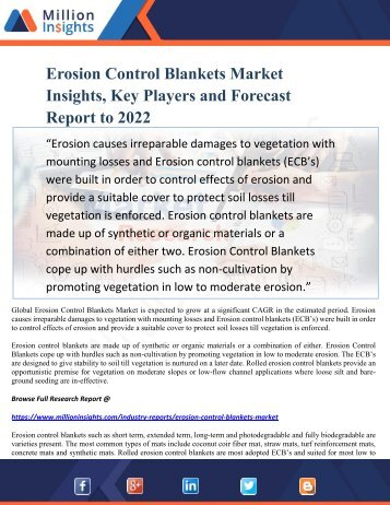 Erosion Control Blankets Market Insights, Key Players and Forecast Report to 2022
