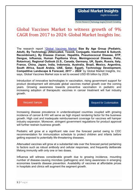 The High Cost Of Vaccines >> Global Vaccines Market To Surpass 65 Bn By 2024
