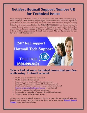 Get Best Hotmail Support Number UK for Technical Issues