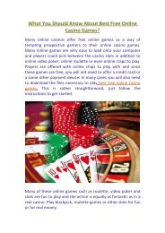 What You Should Know About Best Free Online Casino Games