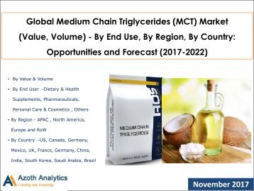 Global Medium Chain Triglycerides (MCT) Market: Opportunities and Forecast (2017-2022)