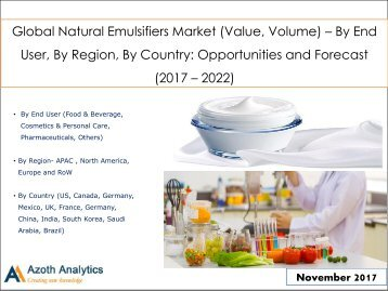 Global Natural Emulsifiers Market: Opportunities and Forecast (2017 – 2022)