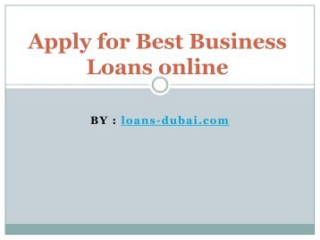 How to Apply for Best Business a Loan