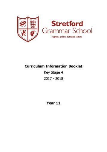 Year 11 Curriculum Information Booklet 2017-2018