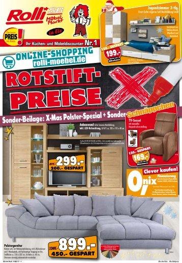 Rotstift-Preise und Sonder-Beilage: X-Mas Polster-Spezial bei Rolli SB Möbelmarkt in 65604 Elz bei Limburg