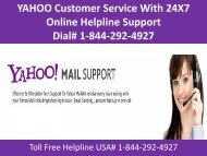 Yahoo Customer Support Number USA  # 1-844-292-4927