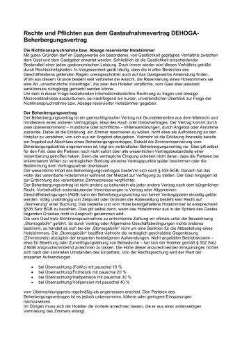 Rechte und Pflichten aus dem Gastaufnahmevertrag DEHOGA ...