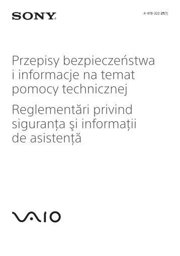Sony SVP1321V9R - SVP1321V9R Documents de garantie Roumain