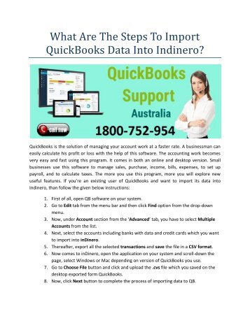 What are the steps to import QuickBooks data into Indinero?