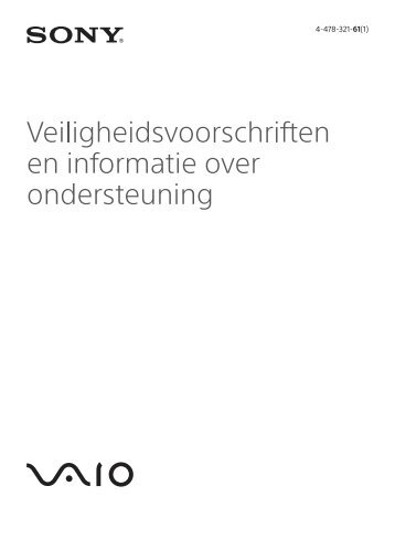 Sony SVP1321V9R - SVP1321V9R Documents de garantie Néerlandais