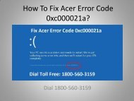 Fix Acer Error Code 0xc000021a Dial 18005603159