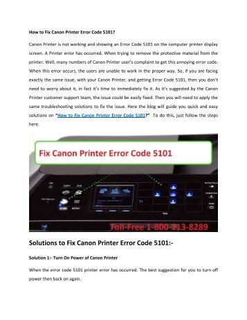 How to Fix Canon Printer Error Code 5101 Call 1-800-213-8289