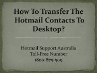 How To Transfer The Hotmail Contacts To Desktop?