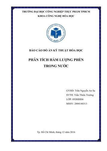 Xác định hàm lượng phèn trong nước [SVTH] Trần Thiên Trường - Trường Đại Học Công Nghiệp Thực Phẩm TPHCM [2016]