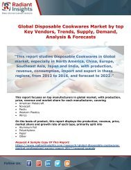 Global Disposable Cookwares Market 2017: By Trends, Supply, Demand, Analysis & Forecasts
