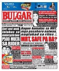 NOVEMBER 17, 2017 BULGAR: BOSES NG PINOY, MATA NG BAYAN