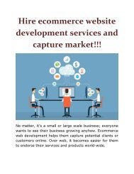 Hire ecommerce website development services and capture market