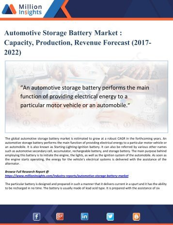 Automotive Storage Battery Market -Capacity, Production, Revenue Forecast (2017-2022)