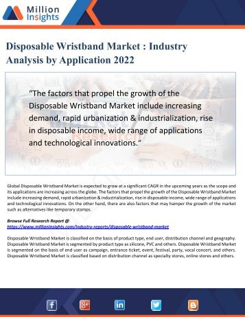 Disposable Wristband Market - Industry Analysis by Application 2022