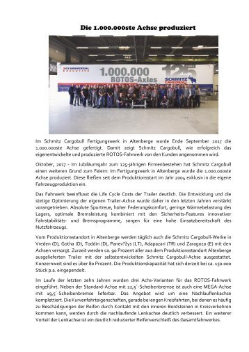 Schmitz Cargobull produzerte die 1.000.000ste Achse in Altenberge