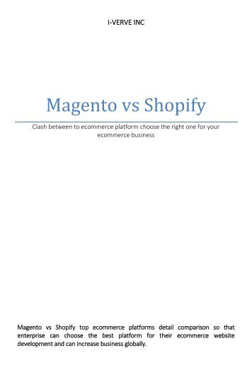 Magento vs Shopify choose best ecommerce platform for your ecommerce business