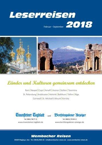 Reisekatalog - Wembacher Reisen - Leserreisen 2018