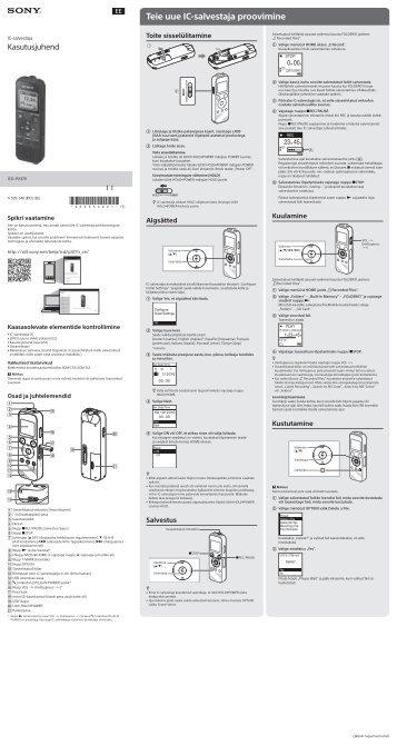 Sony ICD-PX370 - ICD-PX370 Consignes d'utilisation Estonien
