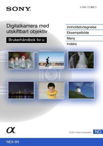 Sony NEX-5ND - NEX-5ND Consignes d'utilisation Norvégien