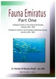Fauna Emiratus - Part 1. Zoological Studies in the United Arab Emirates between 2004 - 2009. By Dr. Norman Ali Bassam Khalaf-von Jaffa 2010.