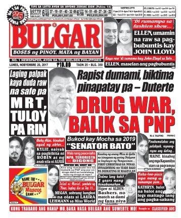 NOVEMBER 20, 2017 BULGAR: BOSES NG PINOY, MATA NG BAYAN